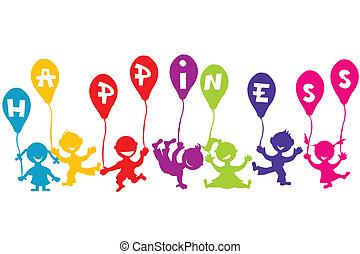 concept, ballons, enfants, bonheur, enfance