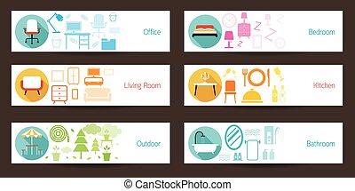concept, bannière, meubles