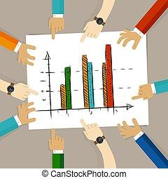 concept, barre, business, reussite, travail bureau, diagramme, regarder, planification, papier, mains, groupe, pointage, équipe, progrès, collaboration
