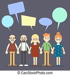 concept, bavarder, gens, communication