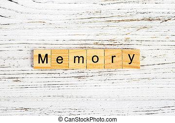 concept, blocs, bois, fait, mémoire, mot