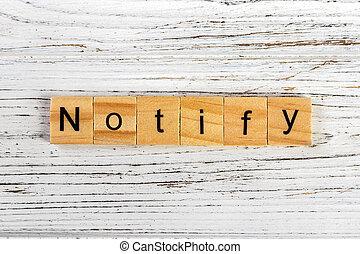 concept, blocs, bois, fait, notifier, mot