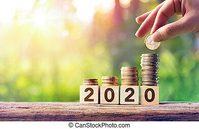 concept, blocs, bois, pièces, -, prévision, croissance, 2020, pile