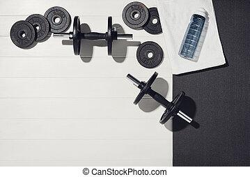 concept., bois, maison, formation, sport, blanc, équipement, fond