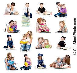 concept, book., ou, tôt, gosses, collection, bébés, childhood., education, lecture