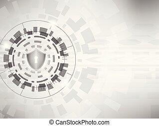 concept, bouclier, cyber, arrière-plan., numérique, sécurité, :