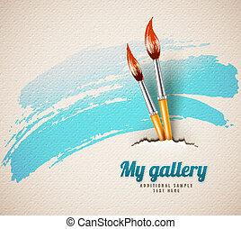 concept, brosses, art, artiste, papier déchiré, textured, dessin
