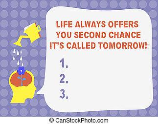 concept, bubble., texte, il, seconde, vide, verser, fleur, arroseuse, occasions, écriture, offres, parole, vous, plus, vie, business, hu, eau, chance, tomorrow., mot, always, analyse, s, gouttes, tête, appelé