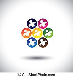 concept, bureau, école, résumé, enfants, icônes, circle., aussi, coloré, employés, graphique, représente, collègues, gosses, personnel, ceci, &, jouer, etc, vecteur, jeux, équipe, ou