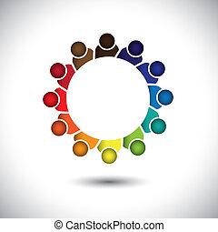 concept, bureau, employés, -, compagnie, vector., réunion, ou, personnel