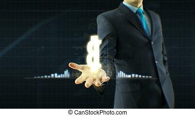 concept, business, échange, bitcoin, monnaie, haut, croissance, citations, espèces, homme affaires, prise, main, homme, grandir, icône