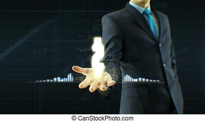concept, business, échange, dollar, haut, monnaie, main, croissance, citations, homme affaires, prise, homme, grandir, icône