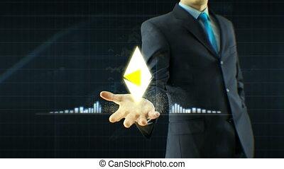 concept, business, échange, espèces, monnaie, haut, croissance, citations, éther, homme affaires, ethereum, prise, main, homme, grandir, icône