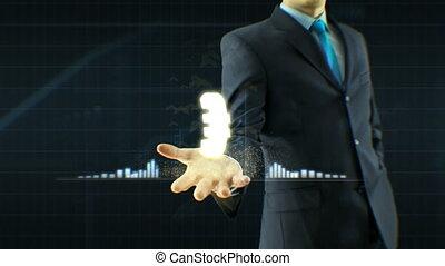 concept, business, échange, haut, monnaie, main, croissance, citations, homme affaires, prise, homme, grandir, icône, euro