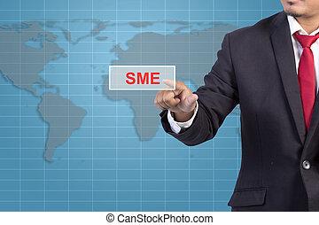 concept, business, écran, -, virtuel, signe, toucher, homme affaires, sme, main