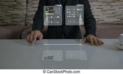 concept, business, application, vérification, imagination, femme, mains, utilisation, hologramme, futuriste