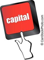 concept, business, bouton, clavier, -, vecteur, clã©, capital