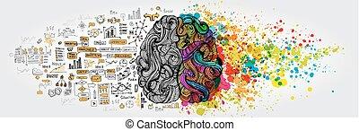 concept., business, cerveau humain, griffonnage, gauche, droit, logique, partie, créatif, social