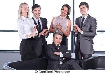 concept, business, enjôleur, leur, applaudit, équipe, leader.