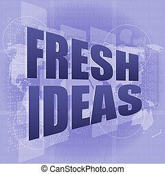 concept, business, idées, écran, mots, numérique, toucher, frais