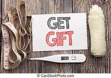 concept, business, obtenir, coupon, texte, projection, fitness, gift., gratuite, note collante, écrit, papier, santé, bandage, fond, thermomètre, shoping, écriture, vide, manuscrit