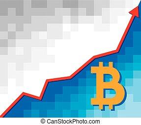 concept, business, positif, -, bitcoin, signe, flèche, graphique