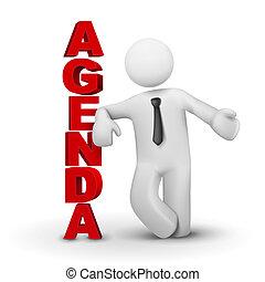 concept, business, présentation, ordre du jour, 3d, homme