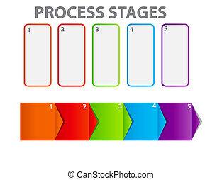 concept, business, processus, illustration, chart., vecteur, améliorations
