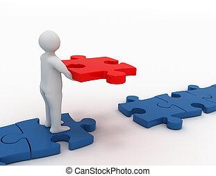 concept, business, puzzle, mettre, morceau, final, homme