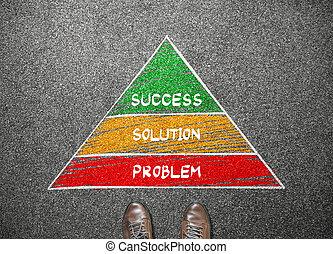 concept, business, reussite, pyramide, solution, revêtement, stand, homme affaires, problème