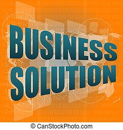 concept, business, solution, écran, mots, numérique