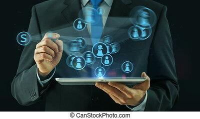 concept, business, tablette, tampon, social, noir, pointage, homme, réseau