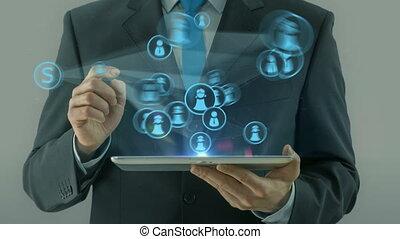 concept, business, tablette, tampon, social, pointage, homme, réseau