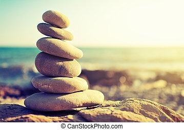 concept, côte, rochers, harmony., mer, équilibre