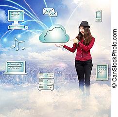 concept, calculer, jeune femme, nuage, heureux