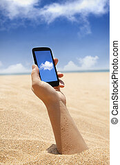 concept, calculer, main, téléphone, intelligent, plage, nuage, vue