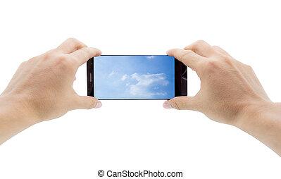 concept, calculer, mobile, ciel, screen., téléphone, intelligent, tenant mains, nuage
