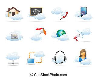 concept, calculer, nuage, icône