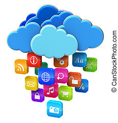 concept, calculer, nuage, mobilité