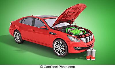 concept, capacité, électrique, render, batterie, voiture, piles, vert, sous, capuchon, 3d