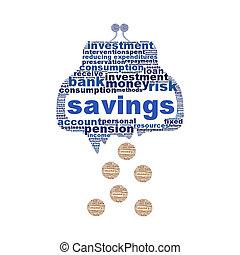 concept, cassé, symbole, isolé, portefeuille, économies, blanc