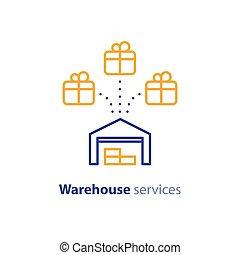 concept, centre, vente gros, stockage, icône, services, expédition, entrepôt, distribution, ordre, paquet