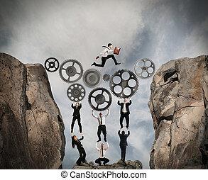 concept, collaboration, engrenage, système
