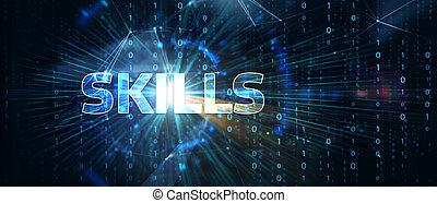 concept., compétence, ability., business, technologie, internet, réseau, connaissance