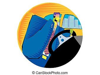 concept, conduite, professionnels, voiture, -, transport, homme affaires, personne agee, voyage, heureux