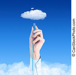 concept, connecter, nuage