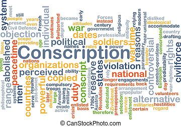concept, conscription, fond