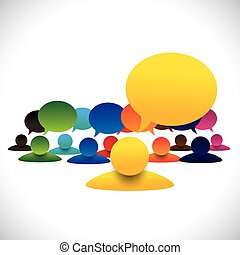 concept, conversation, &, empl, directeur, vecteur, membres, réunion, éditorial