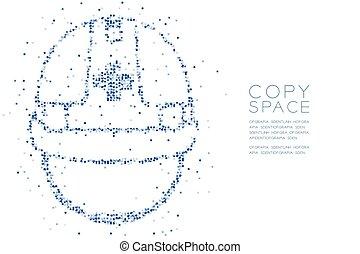 concept, couleur, résumé, conception carrée, bleu, casque, modèle, forme, sécurité, géométrique, pixel, espace, illustration, construction, fond, copie, blanc, boîte, 10, eps, vecteur, premier