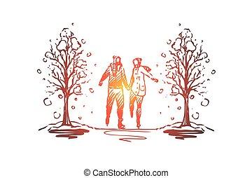 concept., couple, romance, isolé, vector., ville, hiver, parc, main, dessiné
